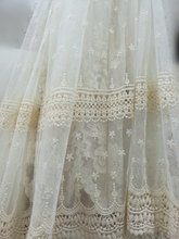 ivory Lace fabric, vintage Embroidered tulle lace antique bridal lace, curtain home decors, MF080