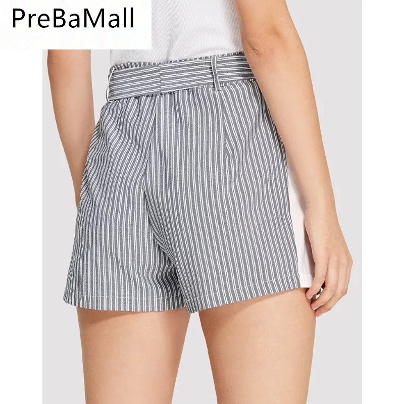 2019 New Style Striped Women Shorts Fashion Hot Ladies Sexy Summer Casual Shorts High Waist Beach Bow Trouses C113