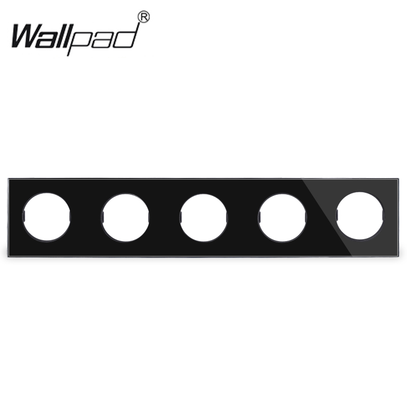L6 DIY Customization White Black Glass 5 Gang Frame Plate For L6 Wall Light Switch Socket InsertsL6 DIY Customization White Black Glass 5 Gang Frame Plate For L6 Wall Light Switch Socket Inserts