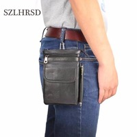 SZLHRSD Cell Phone Case Genuine Leather zipper pouch Belt Clip Waist Purse Case Cover for Samsung Galaxy S9 Plus Doogee S50