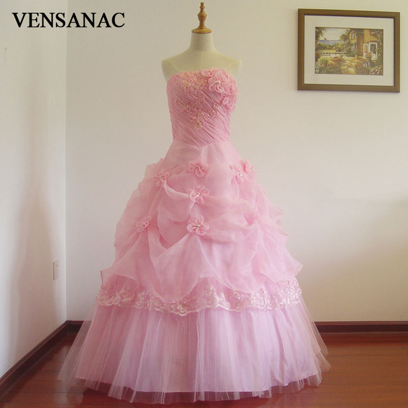 Vensanac 2017 new a line flowers strapless off the for Wedding dress with red flowers