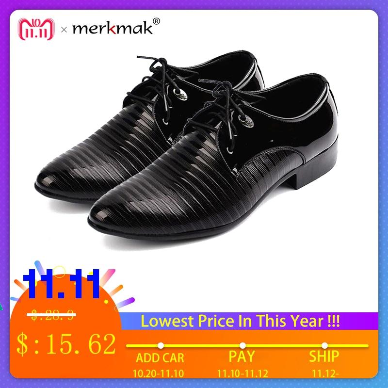 Merkmak 38-48 Men's Lace-Up Oxfords Dress Shoes Men's PU Leather Business Office Wedding Flats Man Casual Party Driving Shoes цена