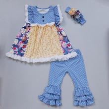 Newborn Baby Girl Outfit Flower Pattern Top with Ruffles Summer Spring Clothes Boutique Girls clothes Set