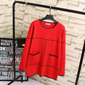 Casual Pocket Women Sweaters Plus Size 3XL 4XL Blue/Red/Gray O-neck Knitting Sweater KK2046