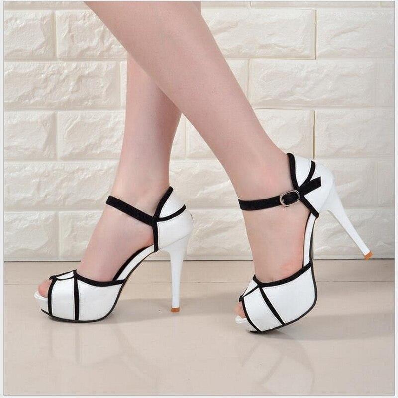 Talons Hauts Parti Plate Mariage Mujer Sandales Pour Mode Sangle Cheville D'été De Noir Toe Femmes Peep Zapatos blanc forme qHgIn4fw