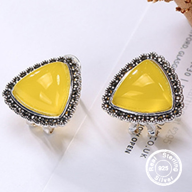NOT FAKE S925 Sterling Silver Poland Amber Stud Earrings upper class lithuania Retro Chalcedony Triangle shape unique gemstoneNOT FAKE S925 Sterling Silver Poland Amber Stud Earrings upper class lithuania Retro Chalcedony Triangle shape unique gemstone