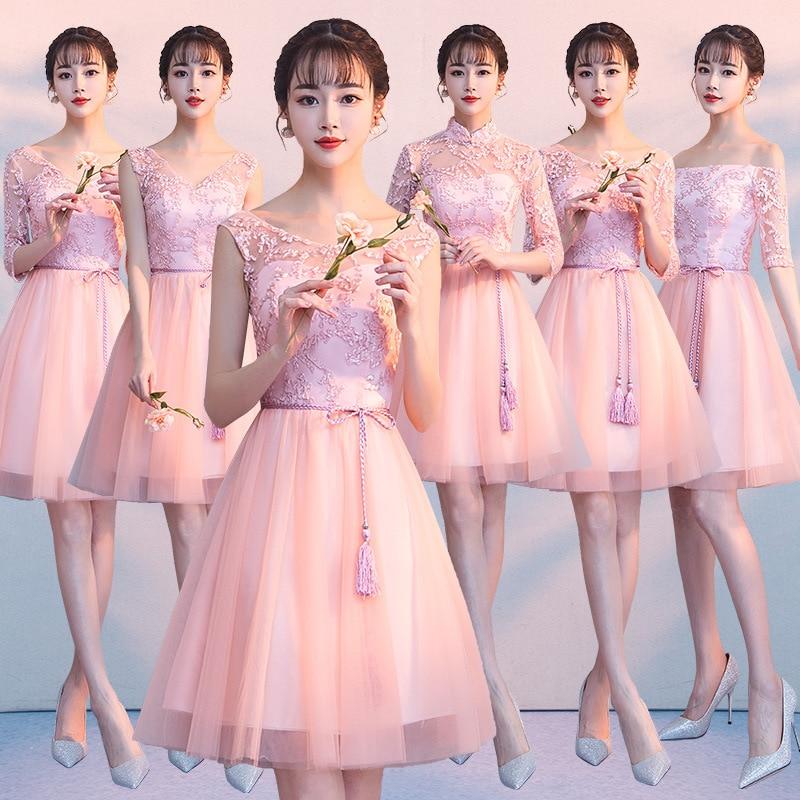 PINK Short   Bridesmaid     Dresses   Robe Demoiselle D'honneur Fille 2019 A Line Wedding Party Guests Formal Gowns Graduation   Dress