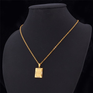 Image 4 - U7 Allah Jewelry Wholesale Gold Color Rhinestone Vintage Style Square Pendant Necklace For Muslim Women P482