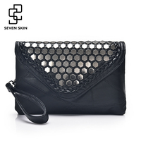 SEVEN SKIN 2017 Designer Shoulder Bags Leather Handbags Women Famous Brands Envelope Evening Clutch Bag For