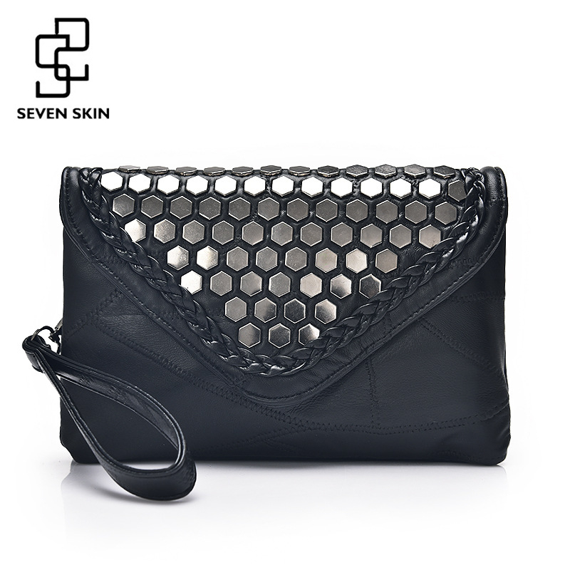 SEVEN SKIN 2017 Designer Shoulder Bags Leather Handbags Women Famous Brands Envelope Evening Clutch Bag for Girl Messenger Bag designer bags famous brand high quality women bags 2016 new women leather envelope shoulder crossbody messenger bag clutch bags