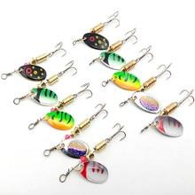 KKWEZVA 10 Pcs/Two sizes Fishing Lure Hook Spinner Spoon Lures With Mustad Treble Hooks Peche Jig Anzuelos De Pesca