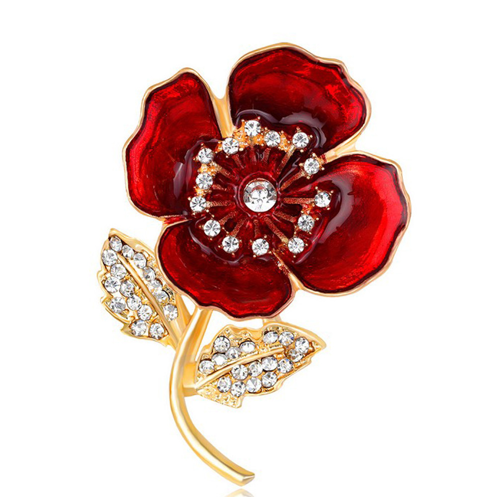 2018 Fashion Women New Large Red Flower Crystal Pin Brooch