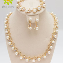 Free Shipping 2017 Classic Imitation Pearl Gold /Silver Plated Clear Crystal Party Gift Fashion Costume Pearl Jewelry Sets