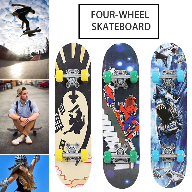 Image 3 - Maple Wood Four Wheel Scooter Deck Skateboard Extreme Sports Popular Complete Skateboard Single Warping Slide Skate Board-in Skate Board from Sports & Entertainment