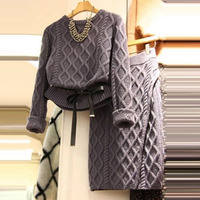 2017 Autumn Winter New Round Neck Sweater Shirt Casual Knitted Skirt Women Two Piece Sets Female