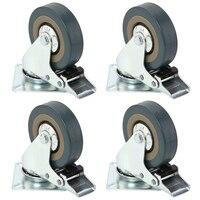 Set Of Heavy Duty 75x21mm Rubber Swivel Castor Wheels Trolley Caster Brake 50KGModel 4 With Brake