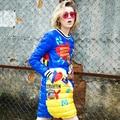 Estilo de europa Diseñador de la Marca de Pato Por la Chaqueta de Las Mujeres 2016 Otoño Chaquetas y Abrigo de invierno Más El Tamaño de Impresión de la Historieta de Down Parkas vestidos