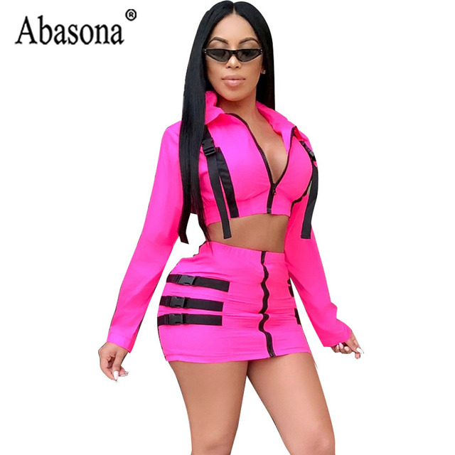 7b0b74379e10 Abasona Women Pink 2 Piece Sets Mini Bodycon Dress Sexy Club Patchwork  Zipper Dress Notched Collar Long Sleeve Dresses Ladies