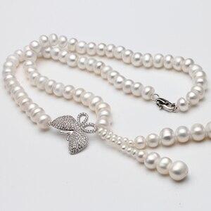 Image 4 - Süßwasser perle perlen halskette 925 silber schmuck, Echt perle festival halskette frauen quaste schmuck schmetterling