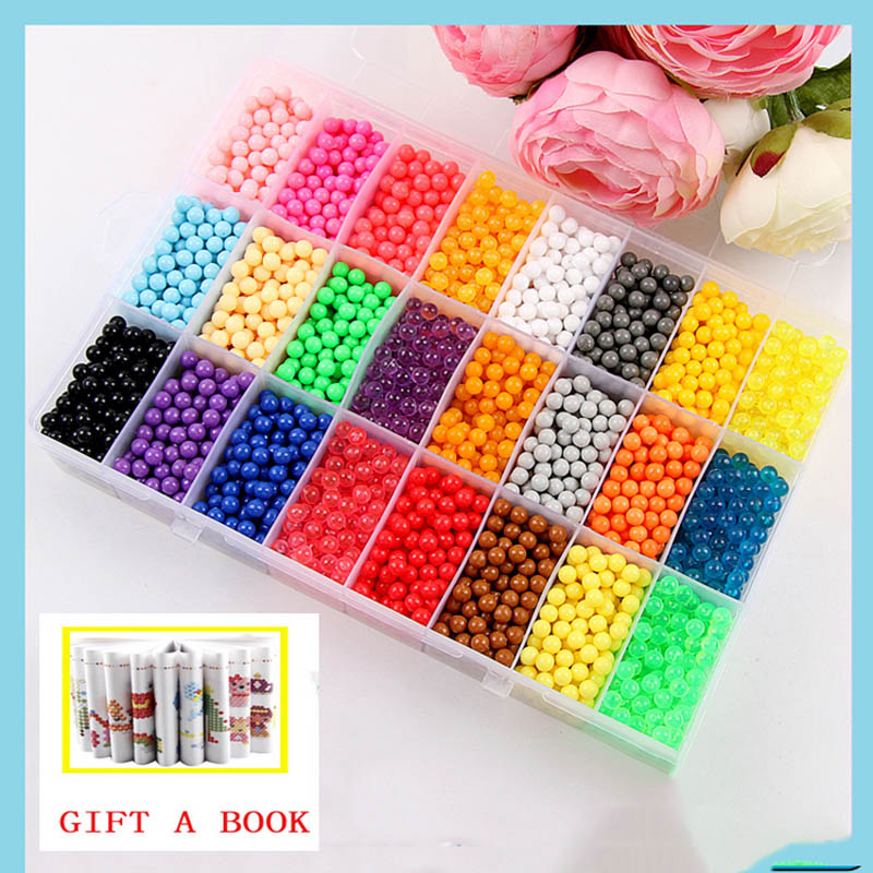 6000pcs 24 colors Refill Beads puzzle Crystal DIY water spray beads set ball games 3D handmade magic toys for children(China)