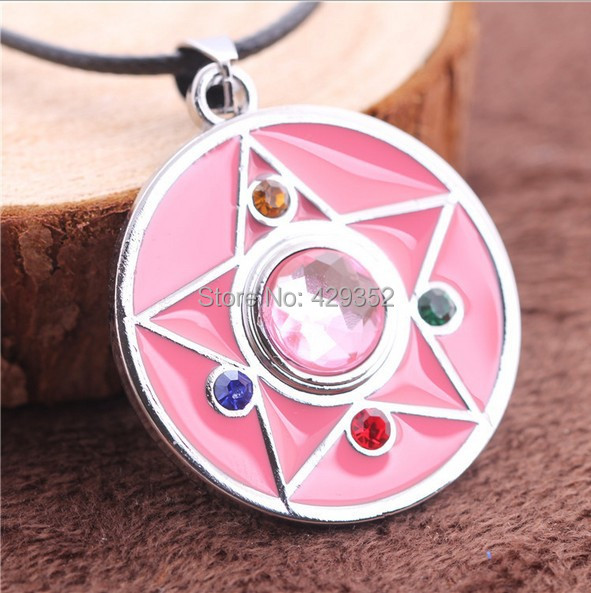 High Quality Sailor Moon Pendant Necklace Wholesale 10pcslot Heart Shaped Pink Necklace For Girls
