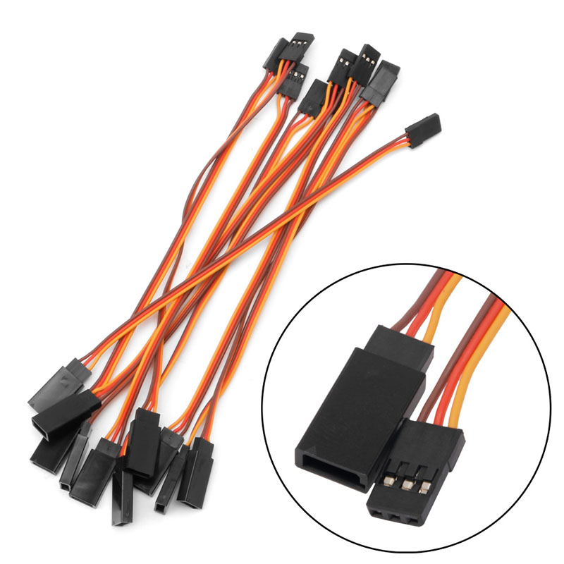10Pcs 150mm Extension Servo Wire Lead Cable For RC Futaba JR 15cm Male to Female jr male to female connection cable for r c model red orange brown 100cm