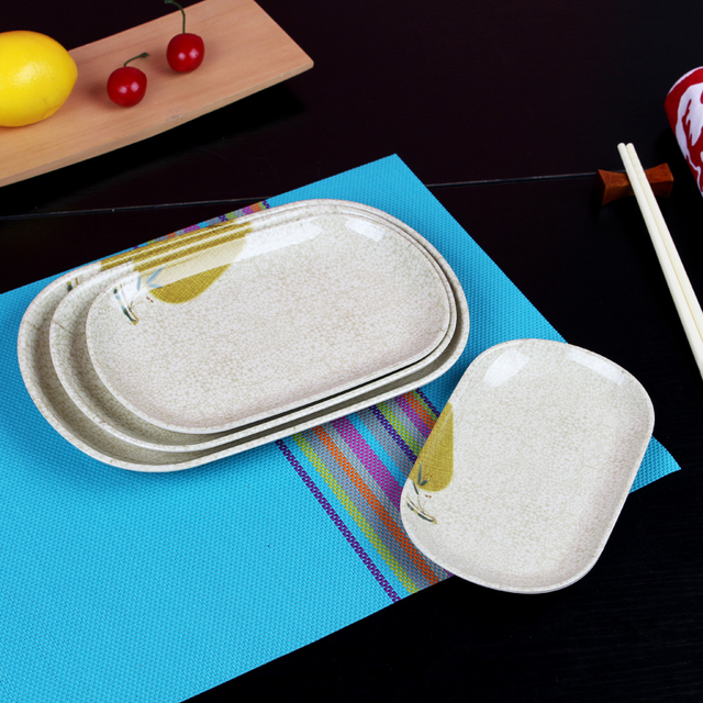 Fish Plate Rectangle Plastic Dish Plate Crackle Glaze Home Kitchen Bar Fast Food Dish Dinner Plates & Fish Plate Rectangle Plastic Dish Plate Crackle Glaze Home Kitchen ...