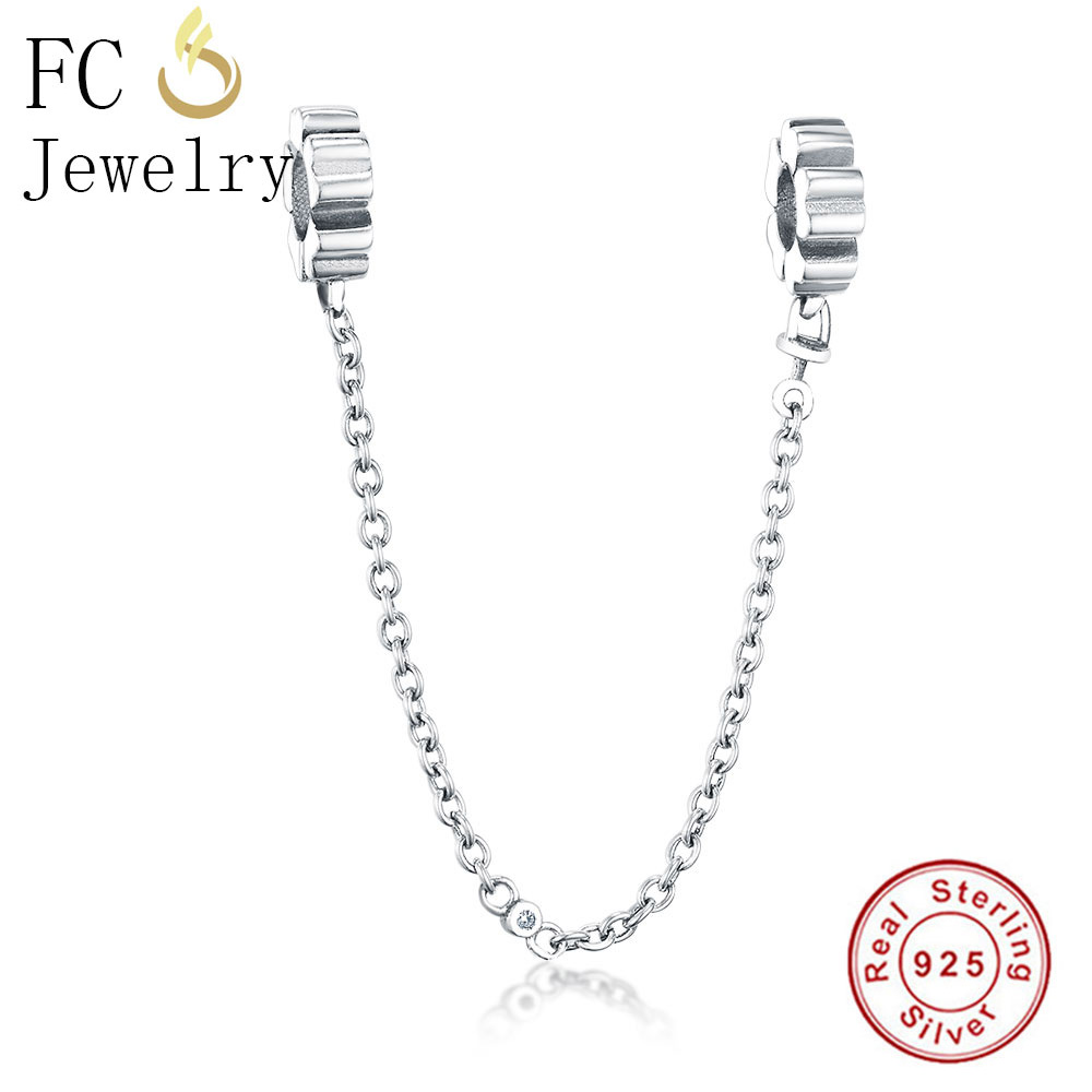 FC Jewelry Fit Original Pandora Charms Bracelet Authentic 925 Silver European Clip Safety Chain Beads for Making DIY Berloque