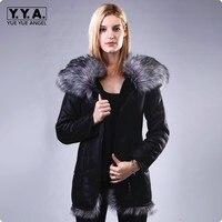 2018 Новые Модные осенние женские полуботинки из искусственной кожи Куртка Плюс Размеры с капюшоном воротник Женская зимняя обувь Пальто для