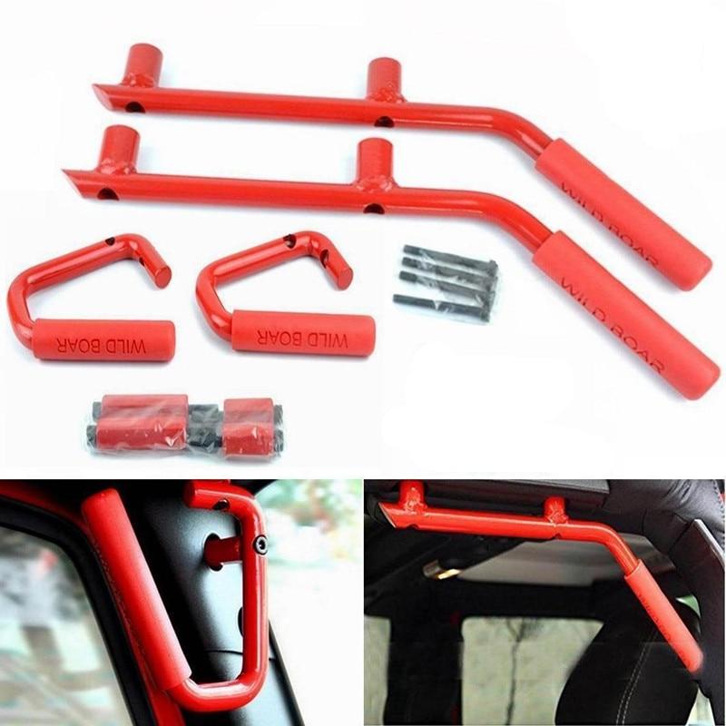 2x Front Grab Bar Steel Grab Handles for 07-17 Jeep Wrangler JK 4 Door Grab Bar