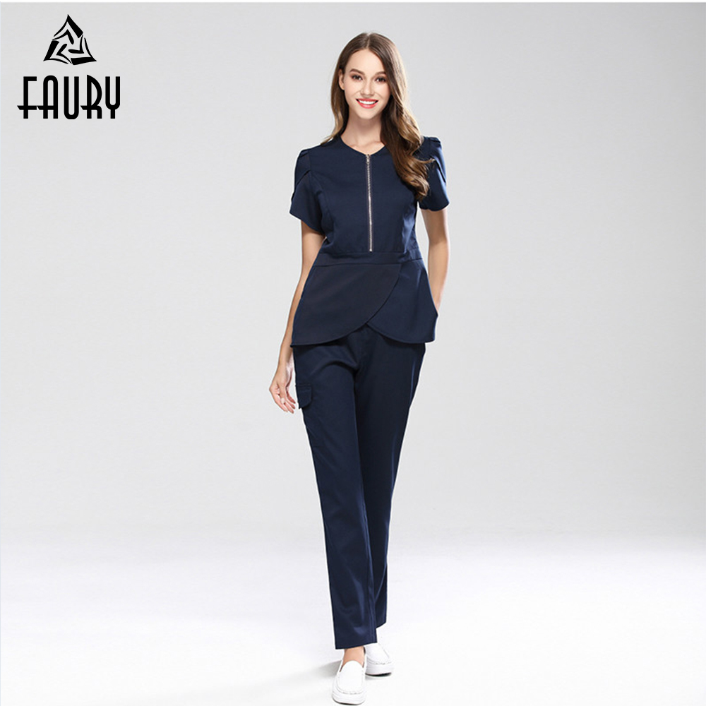 New Nurse Doctor Uniform Medical Srub Sets Hospital Dentists Surgical Clothing Lab Gowns Beauty Salon Spa Suit Top+Pants