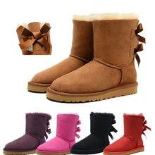 Brand Winter Women Snow Boots Lady Classic Australia Short Botas High Quality Warm Bow Genuine Leather Shoes Woman Plus Size 44 цены онлайн