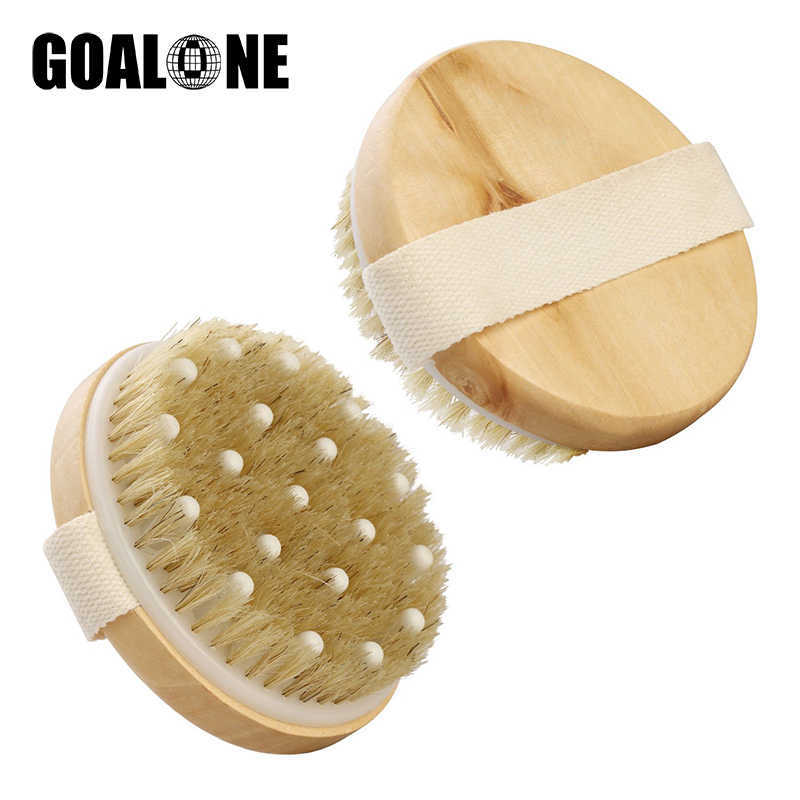 GOALONE Natural Bristle Body Brush 2 in 1 Dry Skin Massage Brush Oval/Round Natural Bristle Body Brush for Massage Exfoliating