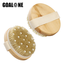 GOALONE Natural Bristle Body Brush 2 in 1 Dry Skin Massage Oval/Round for Exfoliating