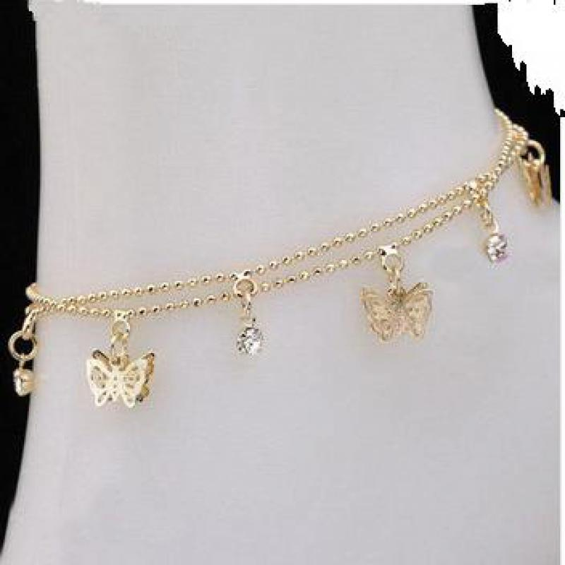 Punk 2017 New Fashion Women's Foot Chain Summer Personality Wild Popular Double Butterfly Lady Legs Anklet Wholesale