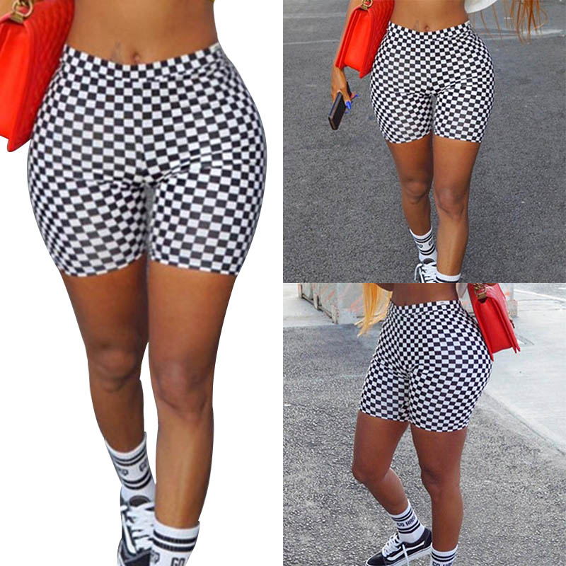 Sexy Skinny Checkerboard White And Black Plaid Print