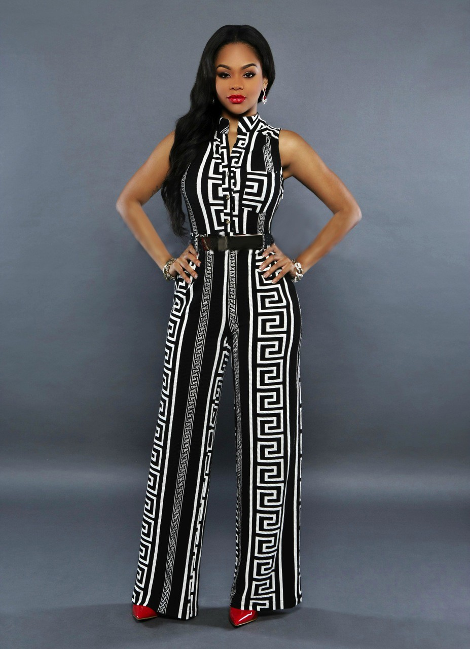 765e19a42b0 Women Striped Print Jumpsuit Black White Sleeveless V Neck Wide Leg Rompers  With Belt Plus Size Full Length Long Playsuit