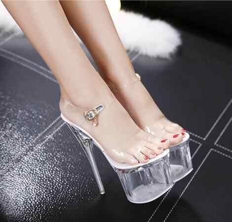 Steel Tube Dancing Fluorescence Shine Shoes Women 2019 Summer New High Heel Peep Toe Nightclub Sandals 17.5cm Waterproof 7.5cm