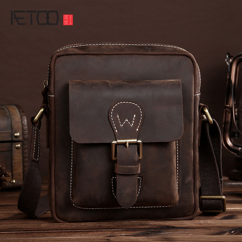 AETOO  new head layer crazy horse genuineleather men's casual leather shoulder bag man Messenger bag leisure bags travel aetoo casual fashion shoulder bag leather new female package first layer of leather bags simple temperament leisure travel packa