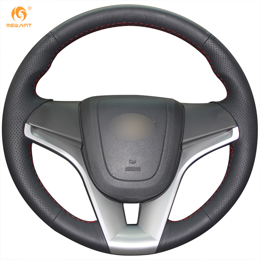 MEWANT Hand-Stitched Black Leather Steering Wheel Cover for Chevrolet Cruze 2009-2014 Chevrolet Aveo 2011-2014 Holden Cruze2010