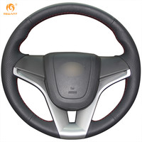Steering Wheel Cover For Chevrolet Cruze Aveo Car Special Hand Stitched Black Genuine Leather Covers