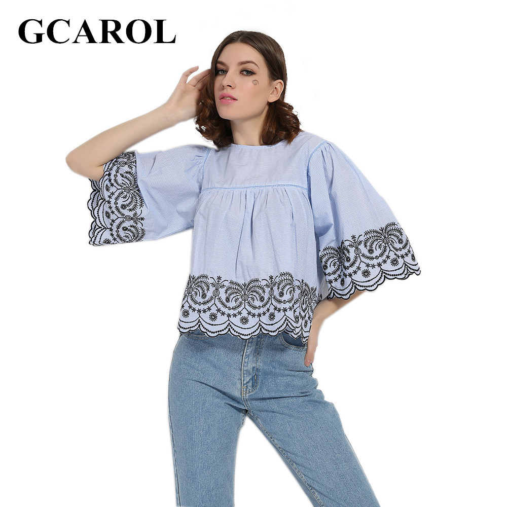 GCAROL 2017 Women Embroidery Floral Blouse 3/4 Sleeve Baby Doll Tops Flare  Sleeve High - Online Buy Wholesale Baby Doll Blouses From China Baby Doll