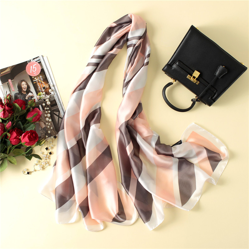 Wholesale high quality striped women scarf soft smooth silk scarves shawls and wraps lad ...