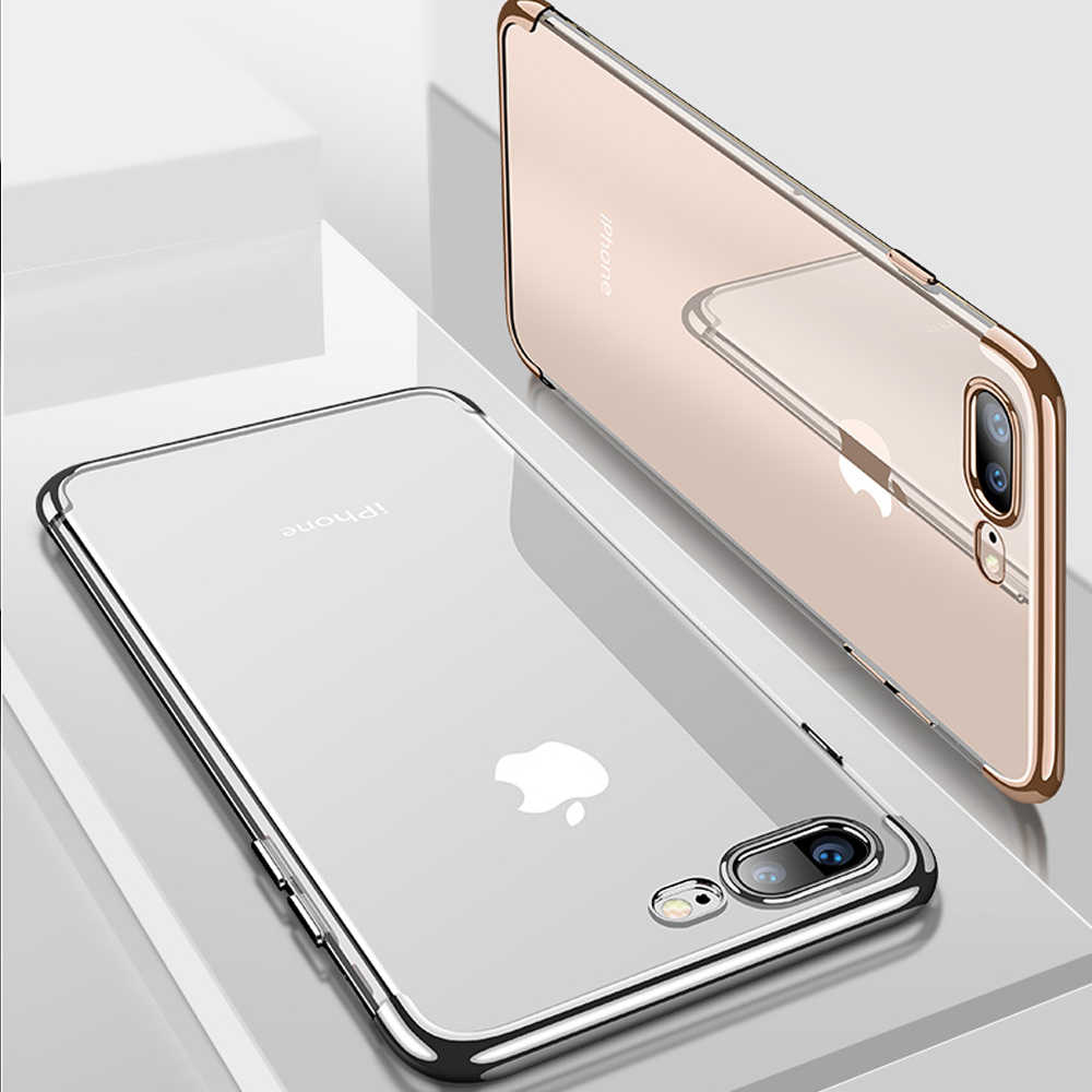 48f1dbceed0 Axbety Luxury Crystal Clear Case For iPhone 8 Case Glossy Chromed Gold Ultra  Slim TPU Cover