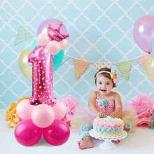 PATIMATE 1set Pink Crown Digit 0-9 Number Balloon Gold Foil Happy Birthday Balloons Party Decoration Baby Boy Girl