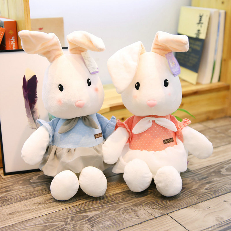 pink Dot dress Stuffed plush rabbit Long flappy ear Bow Cute Bunny toy Baby girl sleeping appease soft toy dolls for children