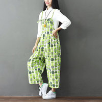 Plant Pattern Summer Jumpsuit Green Fresh Printing Women Jumpsuits Rompers Loose Casual Wide Leg Bib Pants