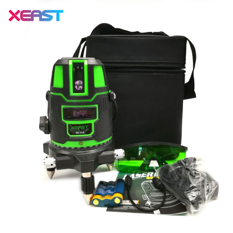 XEAST NEW 5 Line 6 Point  Green Laser Level Meter 360 Degree Laser Line Level,Tilt Mode Self Leveling With Lithium Battery 1pc laser cast line machine multifunction laser line cross line laser rotary laser level 360 selfing leveling 5 line 4v1h3 point