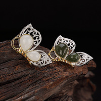 100% Authentic 925 Sterling Silver Exquisite Butterfly Mosaic Natural Stone Fashion Brooch For Women Designer Brooches