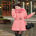 Women Plus Size Cotton-Padded Outwear Coat 2015 Winter Long Hooded Fur Collar With Belt Zippers Thick Jackets Parkas LW356
